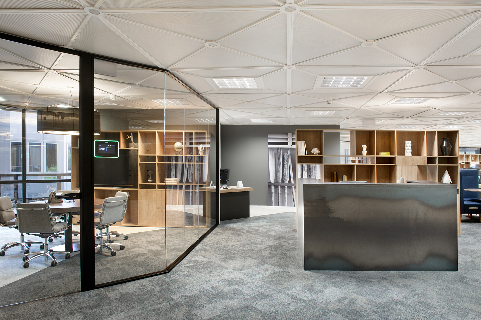 Mampara oficinas poligonal 1 vidrio a testa