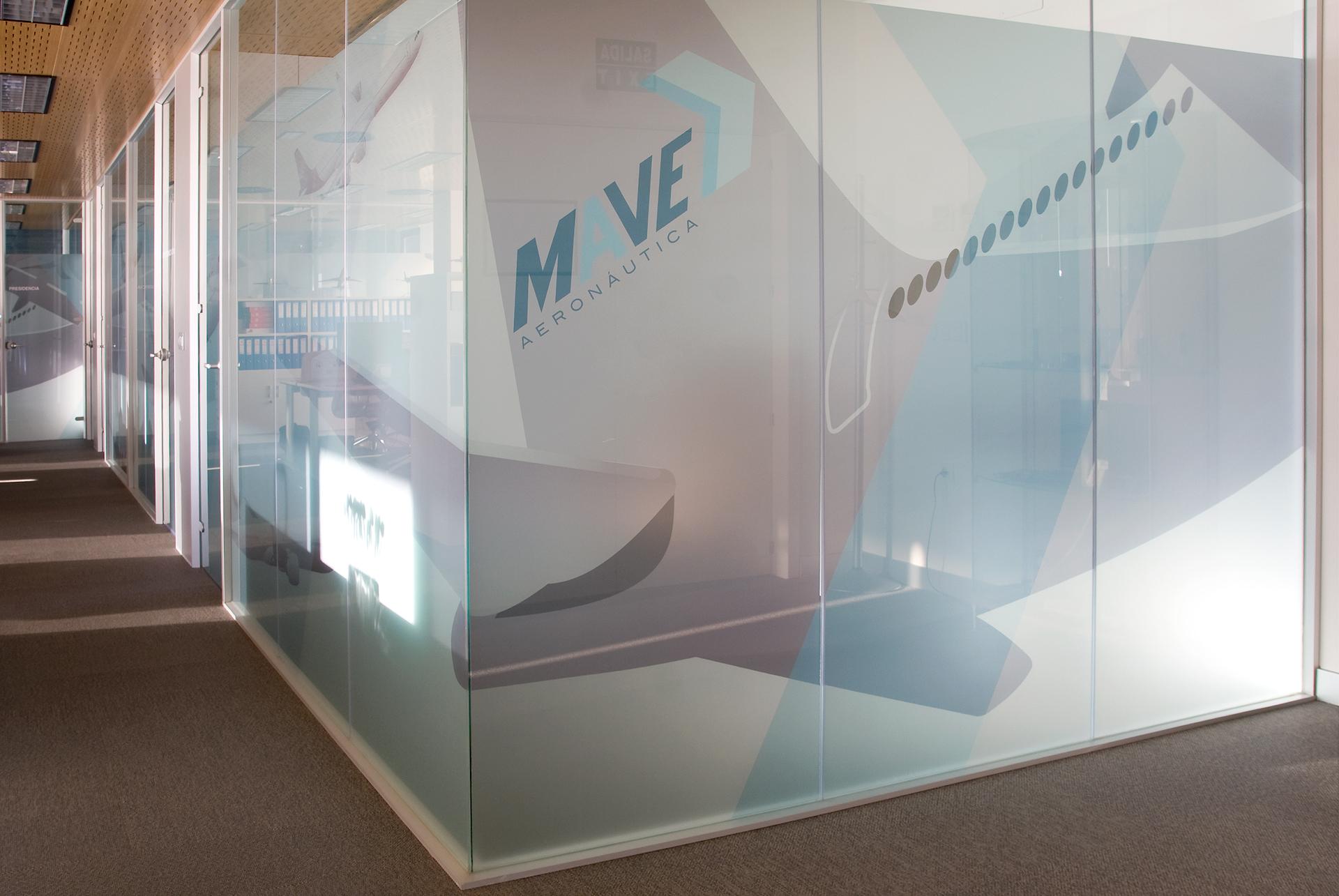 Mampara oficina vidrio contínuo